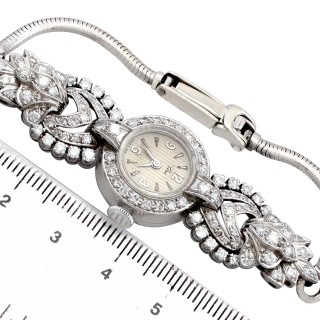 2.92 ct Diamond Cocktail Watch in Platinum and 9 ct White Gold - Vintage Circa 1950 and 1960