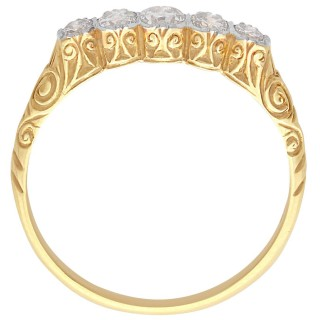 0.42 ct Diamond and 14 ct Yellow Gold, Five Stone Ring - Antique Circa 1920