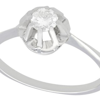 0.33 ct Diamond and 18 ct White Gold Solitaire Ring - Vintage Circa 1940