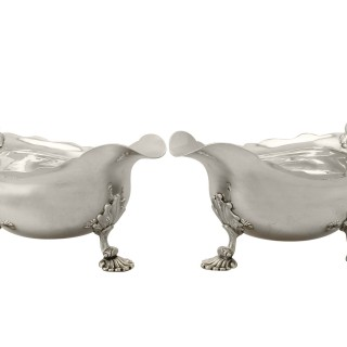Pair of Sterling Silver Sauceboats - Antique George II