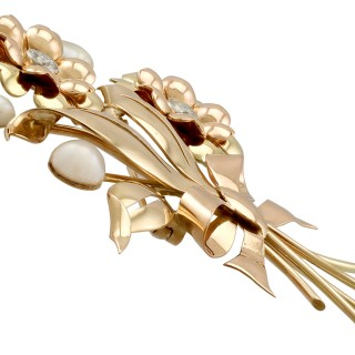 0.90ct Diamond and Pearl, 18ct Yellow and Rose Gold Brooch - Vintage Circa 1950