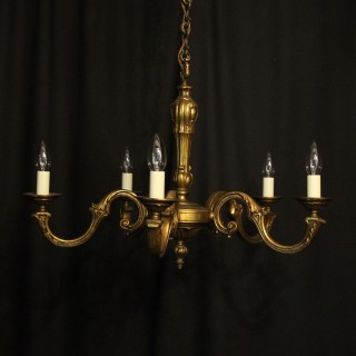 French Gilded Bronze 5 Light Antique Chandelier