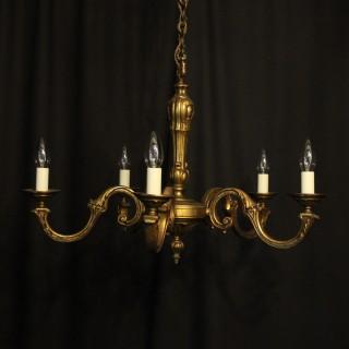 French Gilded Bronze 5 Light Antique Chandelier