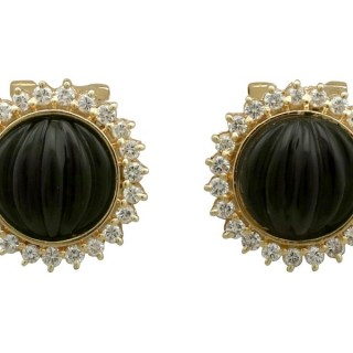 Black Onyx and 0.45 ct Diamond, 14 ct Yellow Gold Earrings - Vintage Circa 1970