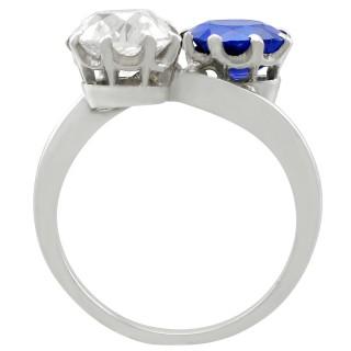 1.45 ct Diamond and 1.58 ct Sapphire, Platinum Twist Ring - Antique Circa 1920