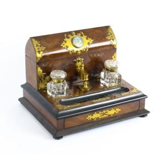 Antique Burr Walnut Writing & Stationery Box c.1860 19th Century