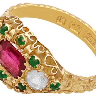 Paste and 15 ct Yellow Gold Dress Ring - Antique Victorian 1873