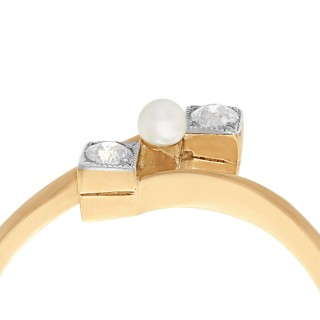 Seed Pearl and Diamond, 14 ct Yellow Gold Twist Ring - Antique Circa 1900