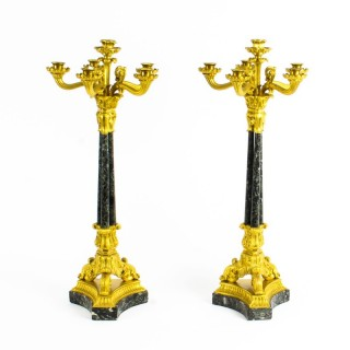 Antique Pair French Ormolu & Marble Candelabra C1850 19th Century