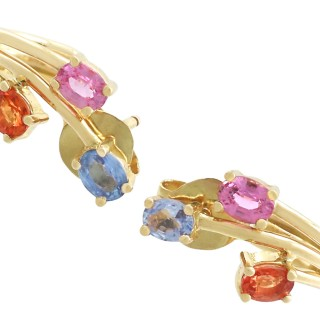 1.72 ct Topaz and Sapphire, 18 ct Yellow Gold Stud Earrings - Contemporary French Circa 2000