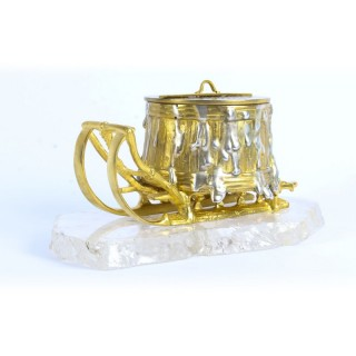 Antique Russian Gilt Bronze Rock Crystal Sleigh Sculpture Inkwell C 1840