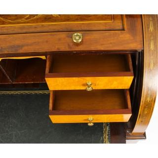 Antique Victorian Mahogany Cylinder Bureau Desk 19th Century
