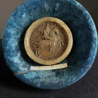 Wax seal mounted with old label, Ludwig Dauphin Von Frankreich 1409