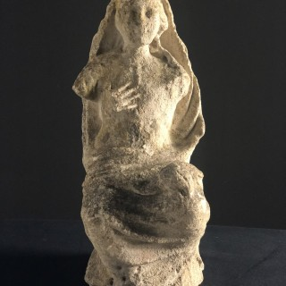 Limestone carving of seated Madonna 15th Century Spain