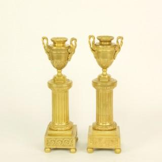 "Pair of 18th Century Louis XVI Neoclassical Gilt Bronze Cassolettes Candlesticks ""au Goût Grec"""