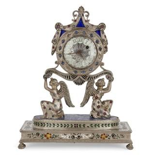 Austrian silver, enamel, and lapis lazuli table clock