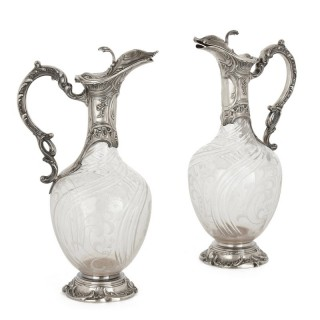 Pair of Rococo style cut glass and silver jugs by Charles Hack