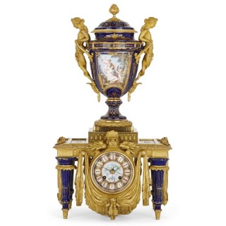 Neoclassical style porcelain and gilt bronze mantel clock by Barbedienne