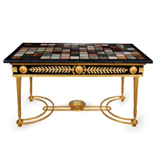French ormolu coffee table with Italian marble specimen top
