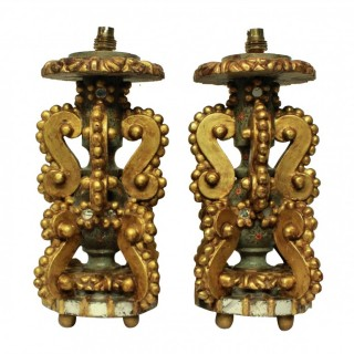 A PAIR OF UNUSUAL GENOESE GILT WOOD LAMPS