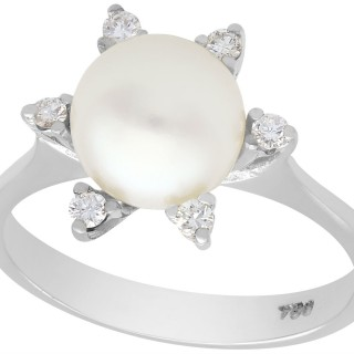 Cultured Pearl and 0.18 ct Diamond, 18 ct White Gold Dress Ring - Vintage Circa 1970