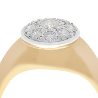0.98 ct Diamond and 18 ct Yellow Gold Cluster Ring - Vintage Circa 1940