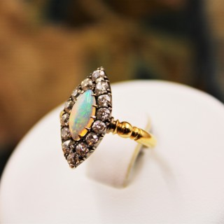 A fine Marquise-cut Australian Opal & Diamond Ring set in 18 Carat Yellow Gold & Silver, Circa 1900-1905