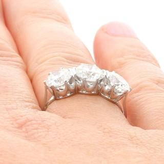 3.53 ct Diamond and Platinum Trilogy Ring - Vintage Circa 1950