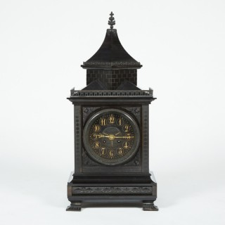 Slate mantel clock in the Gothic style, by William Gabriel of London