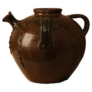 Chestnut glazed terracotta oil jar, South West France, late 19th century