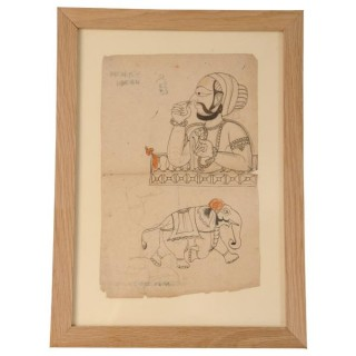 Framed ink on paper drawing, north India, circa 1880