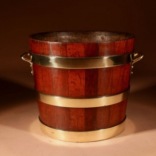 A Decorative Dutch Coopered Brass and Teak Peat Bucket/Jardinière circa 1900
