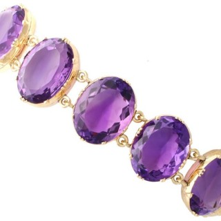 193.38 ct Amethyst and 12ct Yellow Gold Bracelet - Antique Victorian (Circa 1870)