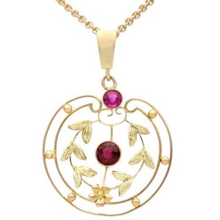 0.48 ct Garnet and Amethyst, 9 ct Yellow Gold Pendant - Antique Circa 1920