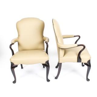 Antique Pair of Queen Anne Revival Arm Chairs Circa 1900