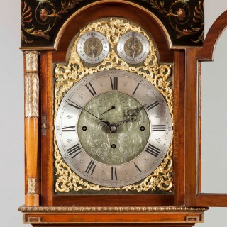An Antique painted Satinwood Longcase Clock by Maple & Company