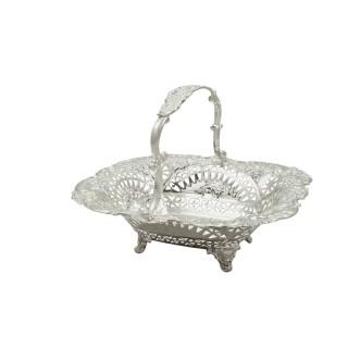 Antique Victorian Sterling Silver Basket 1894