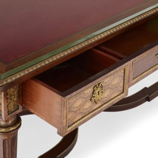 Neoclassical style marquetry and gilt bronze writing desk by Grohé