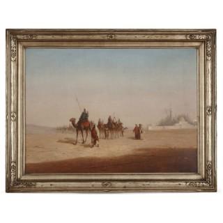 Orientalist oil painting of desert caravan