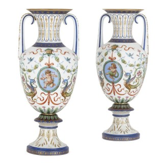 Pair of Neoclassical style opaline glass vases by Baccarat