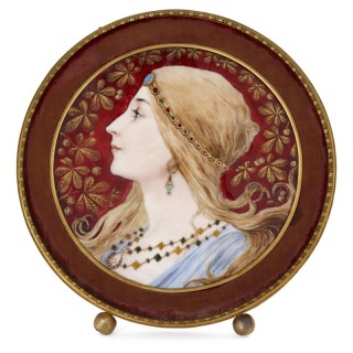 Limoges enamel plaque with painted profile portrait