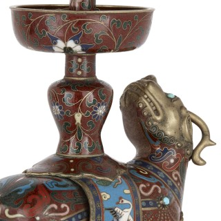 Chinese dragon-form cloisonné enamel candelabra