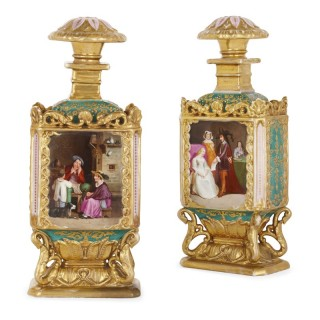 Pair of Rococo style gilt porcelain bottles probably by Jacob Petit
