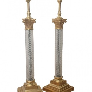 PAIR OF EARLY 20TH CENTURY CORINTHIAN CAPITAL CRYSTAL LAMPS