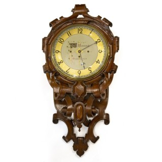 Mid 19th century Quarter-chiming Carved oak Wall clock