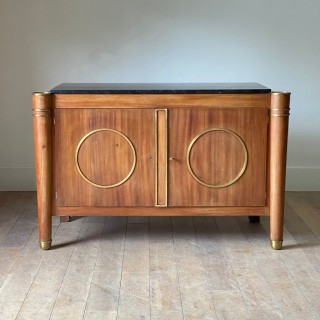 Elegant French 1940's Mid Century Modernist Fossil Marble Topped Commode