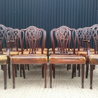 Set of Twelve Antique Dining Chairs
