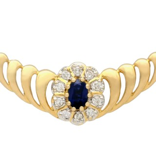 0.36 ct Sapphire and 0.45 ct Diamond, 18 ct Yellow Gold Necklace - Contemporary Circa 2000