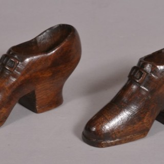 Antique Treen 19th Century Pair of Mahogany Sailor's Boots