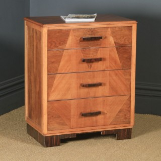 Antique English Art Deco Ruhlmann Style Figured Walnut & Macassar Ebony Bedroom Chest of Drawers / Bedside / Nightstand (Circa 1940)